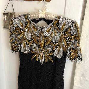 Vintage LAURENCE KOZAR gold silver sequin dress